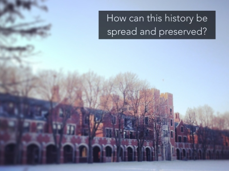 """SLIDE 5: As I dove into researching the college buildings, I found a wealth of incredible information hidden in the archives, buildings that once dominated campus life were forgotten. I've even seen this history disappearing from the recent campus. The PEC was demolished my first year, now almost no students on campus have any idea what it even was. We have an incredibly short institutional memory due to only being here for a brief flash of time. That led me to the question, """"How can this history of the college be spread and preserved?"""" A history paper or display just would not cut it. I found the answer thanks to a little help from the Digital Humanities."""